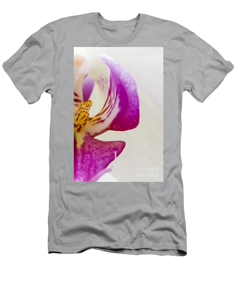 Half An Orchid Men's T-Shirt (Athletic Fit) featuring the photograph Half An Orchid by Anne Gilbert