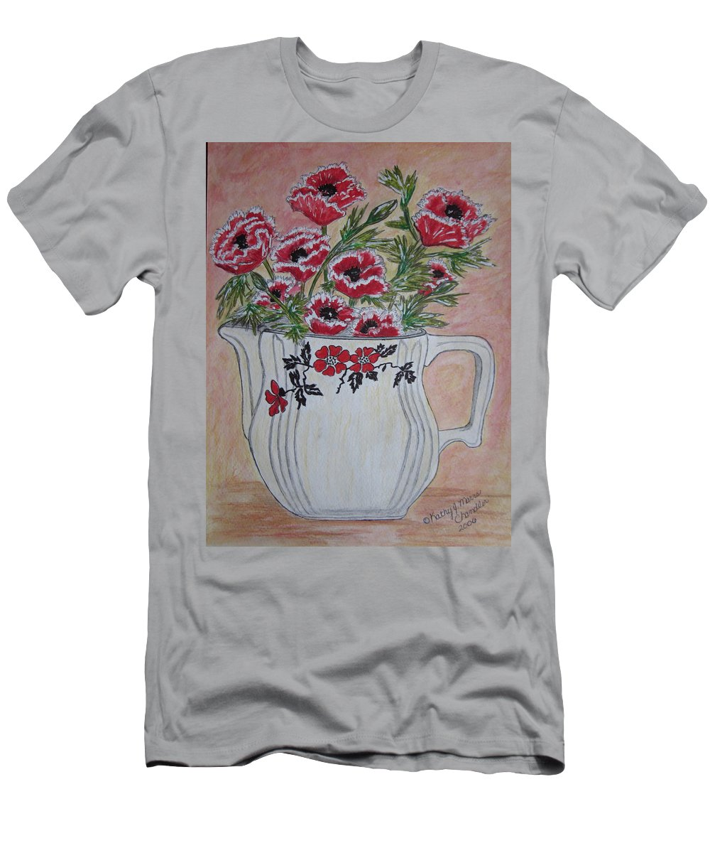 Hall China Men's T-Shirt (Athletic Fit) featuring the painting Hall China Red Poppy And Poppies by Kathy Marrs Chandler