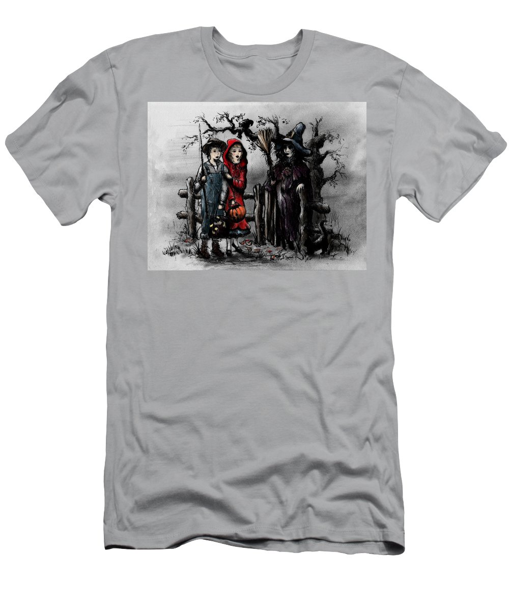 Halloween Men's T-Shirt (Athletic Fit) featuring the drawing Halloween Night by Rachel Christine Nowicki