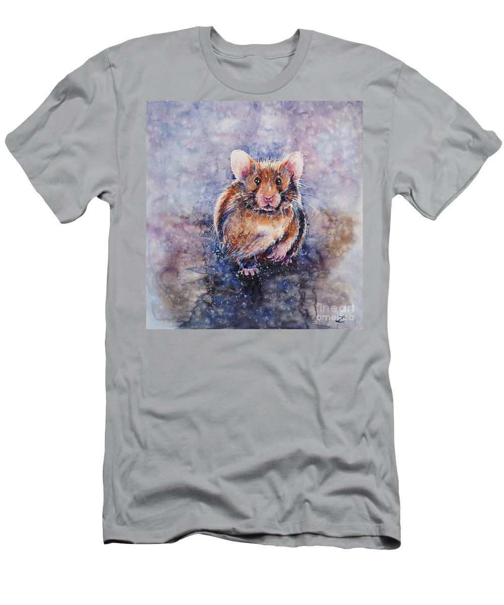 Hamster Men's T-Shirt (Athletic Fit) featuring the painting Hamster by Zaira Dzhaubaeva