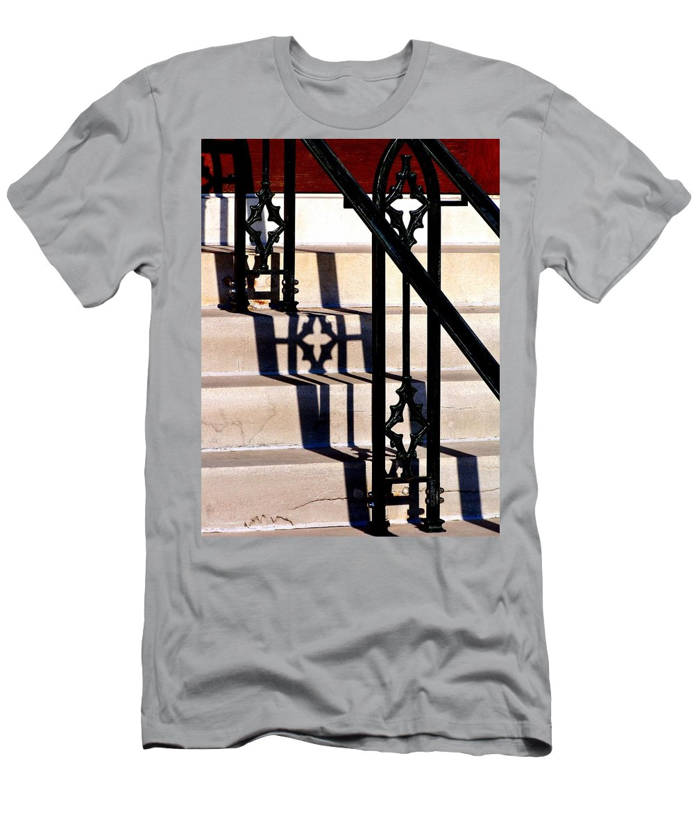 Rightfromtheart Men's T-Shirt (Athletic Fit) featuring the photograph Hand Rail Shadows by Bob and Kathy Frank