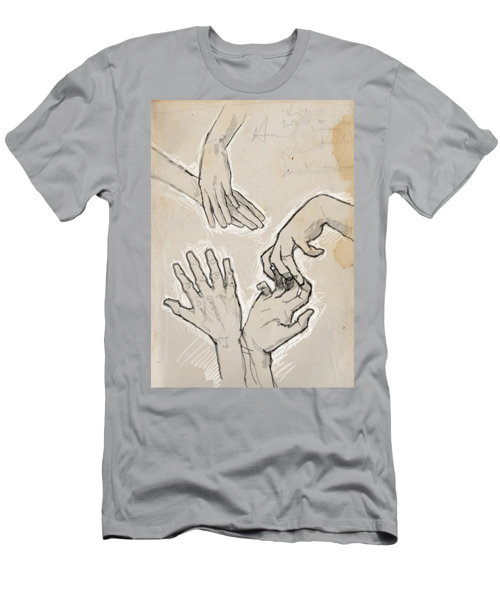 Hands Men's T-Shirt (Athletic Fit) featuring the digital art Hands by H James Hoff