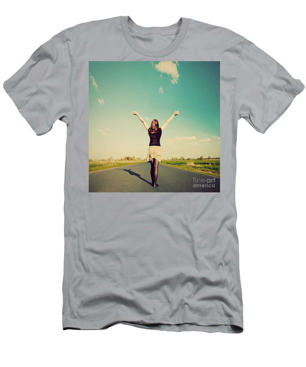 Retro Men's T-Shirt (Athletic Fit) featuring the photograph Happy Woman Standing On Empty Road Retro Vintage Style by Michal Bednarek