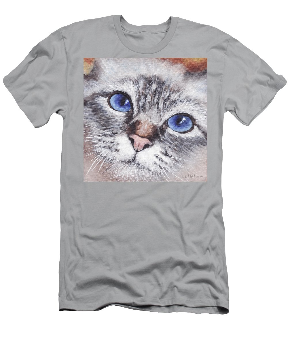 Cat Men's T-Shirt (Athletic Fit) featuring the painting Harley by Greg and Linda Halom