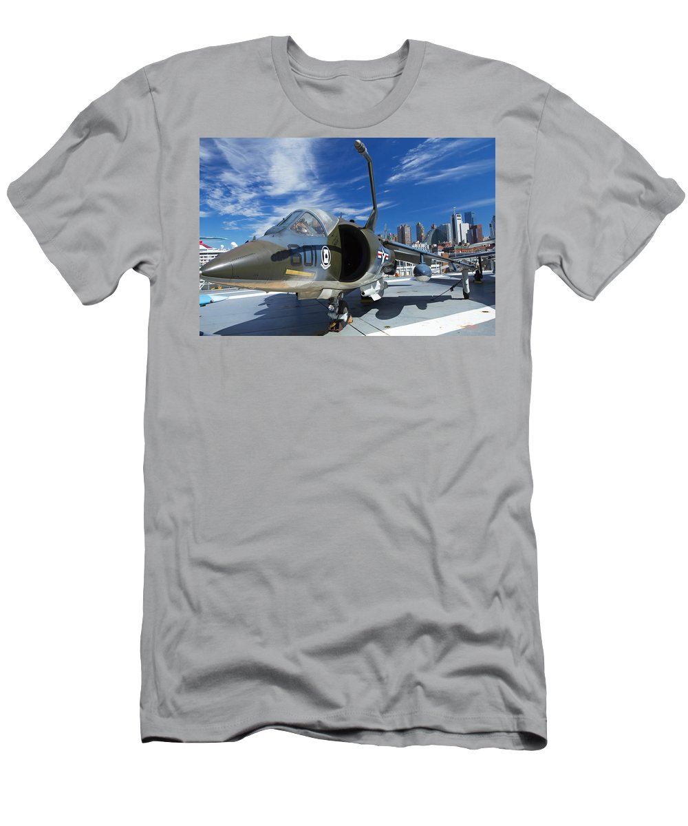 Destination Men's T-Shirt (Athletic Fit) featuring the photograph Harrier At Interpid Museum by Jaroslav Frank