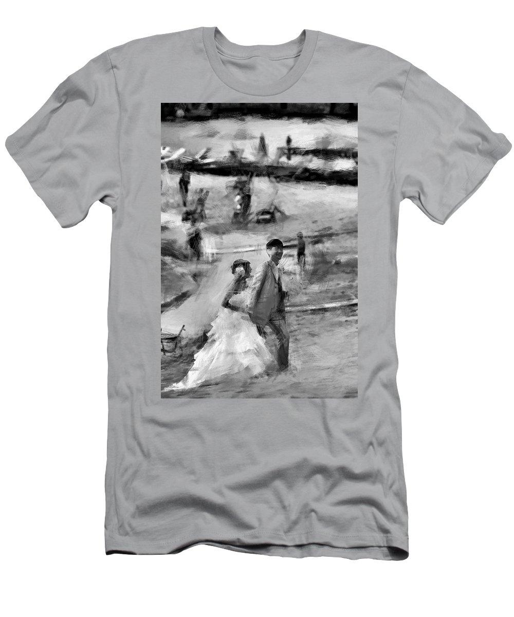 Hawaii Men's T-Shirt (Athletic Fit) featuring the photograph Hawaii Beach Wedding by Douglas Barnard