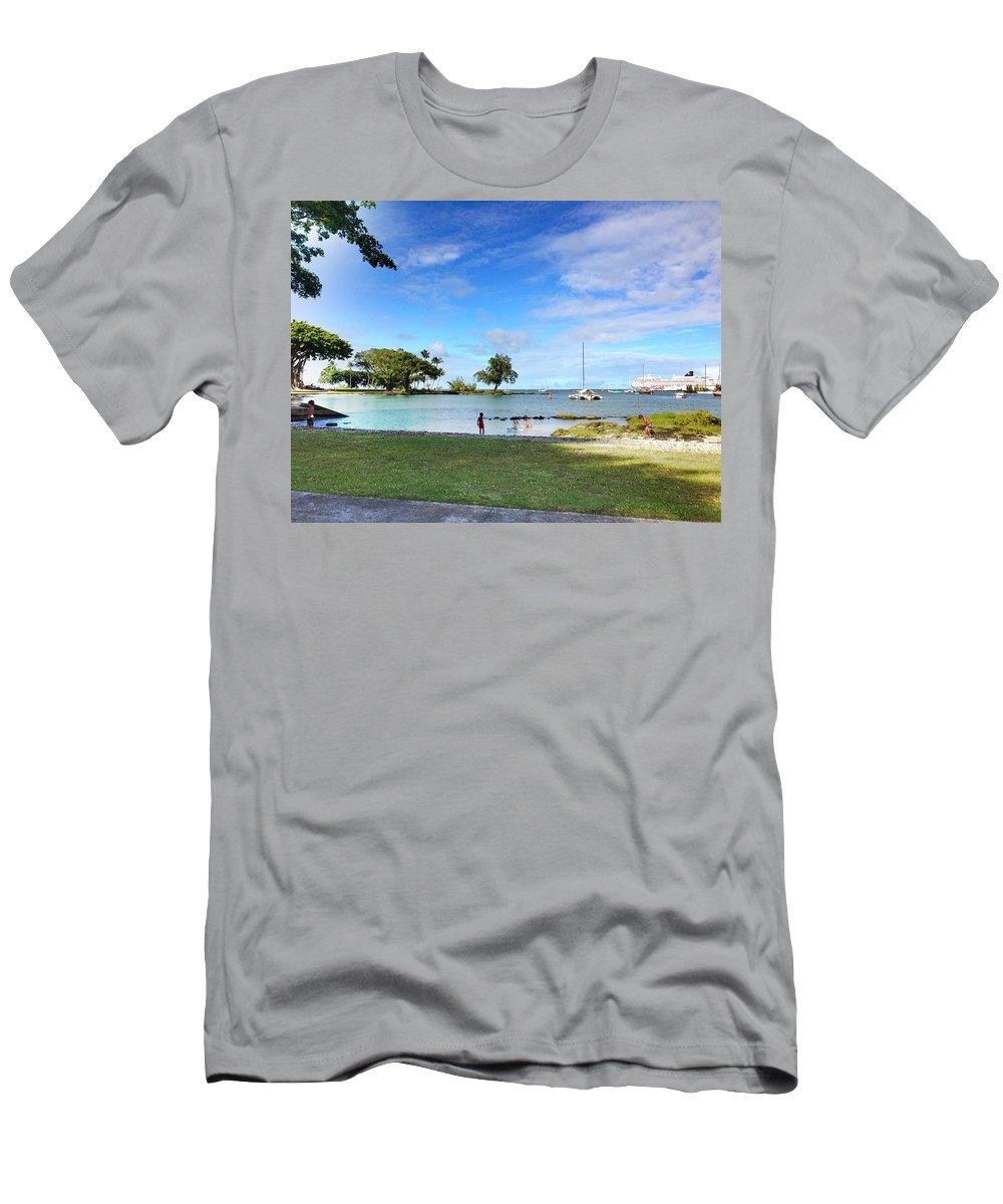 Hawaiian Landscape Men's T-Shirt (Athletic Fit) featuring the digital art Hawaiian Landscape 6 by D Preble