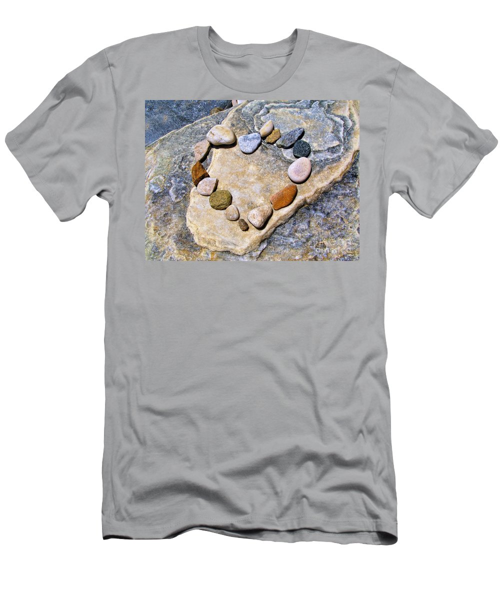 Valentines Men's T-Shirt (Athletic Fit) featuring the photograph Heart And Stones by Daliana Pacuraru