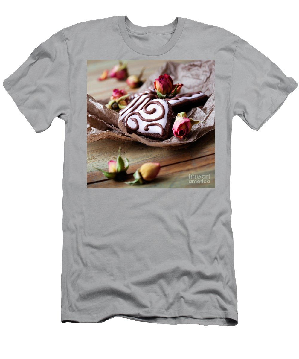Baked Men's T-Shirt (Athletic Fit) featuring the photograph Heart Cookies by Kati Finell