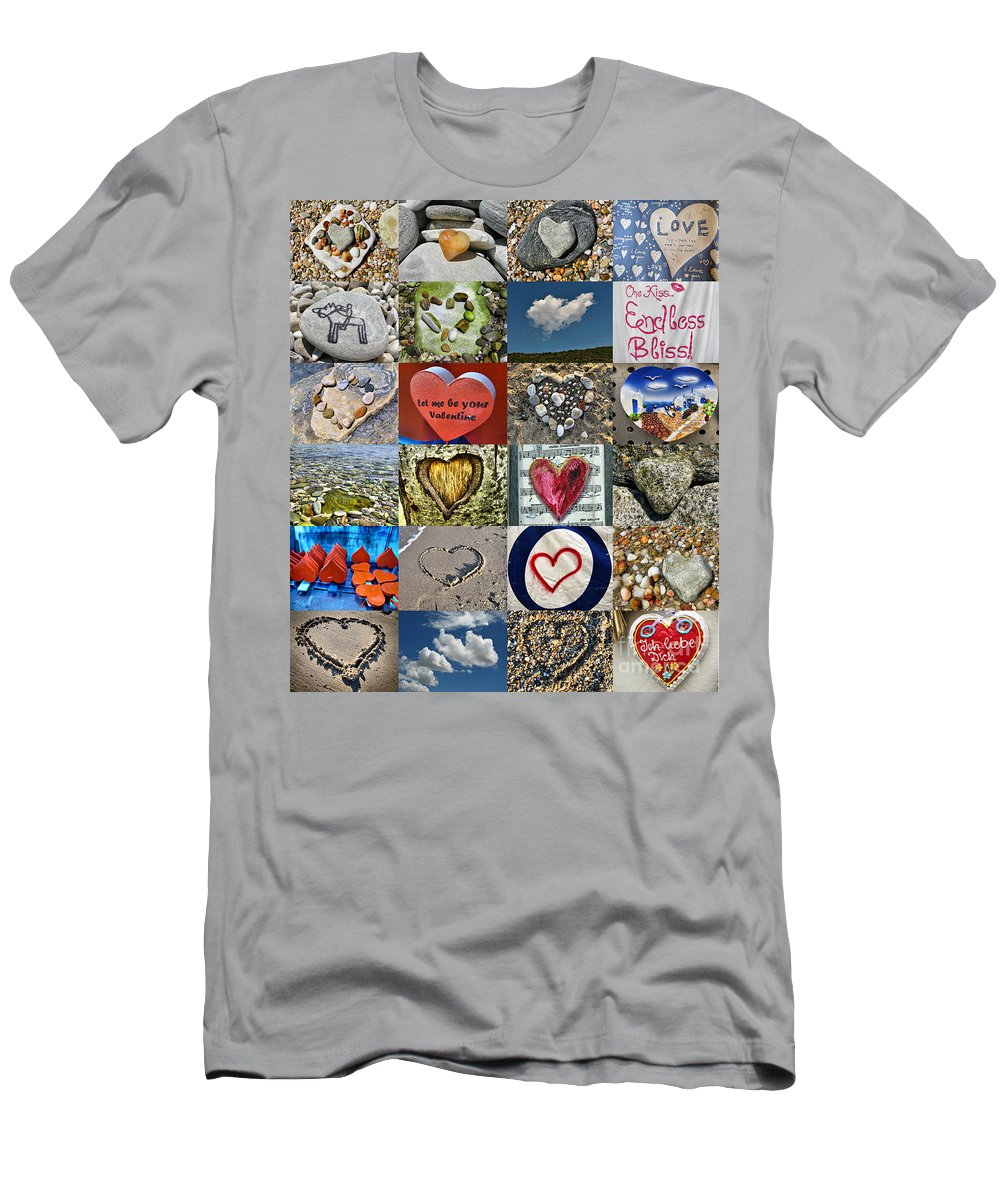 Collage Men's T-Shirt (Athletic Fit) featuring the photograph Heart Shape Collage by Daliana Pacuraru
