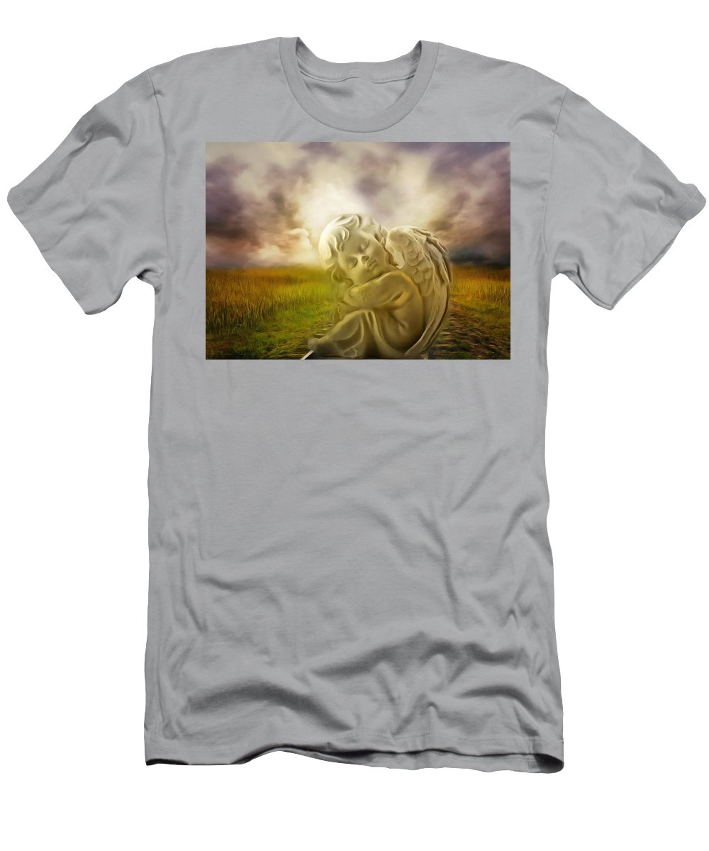 Angel Men's T-Shirt (Athletic Fit) featuring the digital art Heavenly Angels Vintage by Georgiana Romanovna