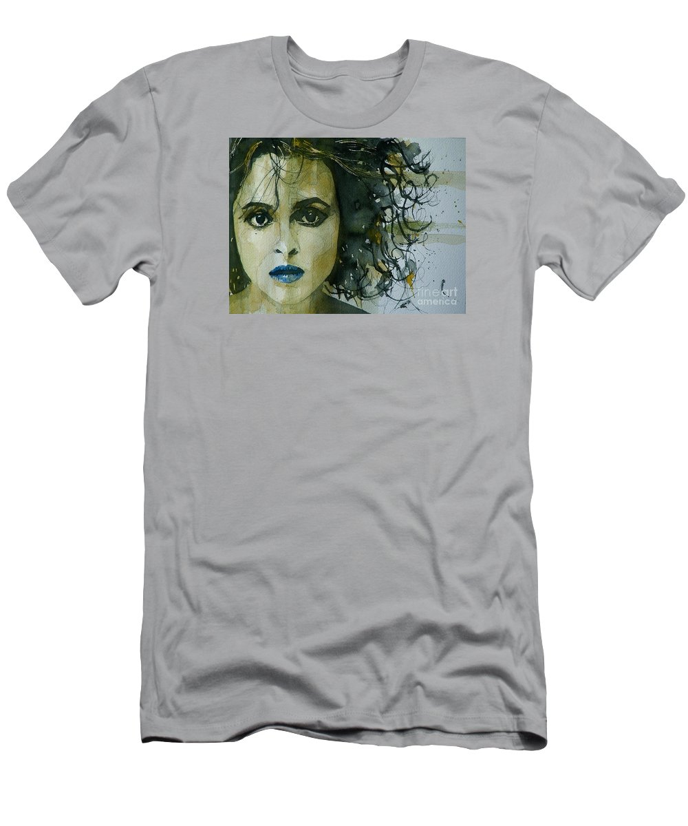 Helena Bonham Carter  Men's T-Shirt (Athletic Fit) featuring the painting Helena Bonham Carter by Paul Lovering