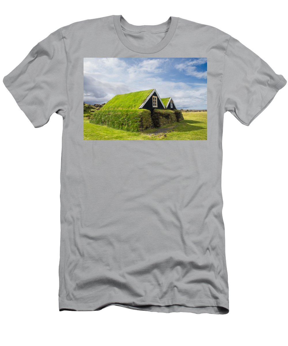 Hellissandur Men's T-Shirt (Athletic Fit) featuring the photograph Hellissandur Turf Houses by For Ninety One Days