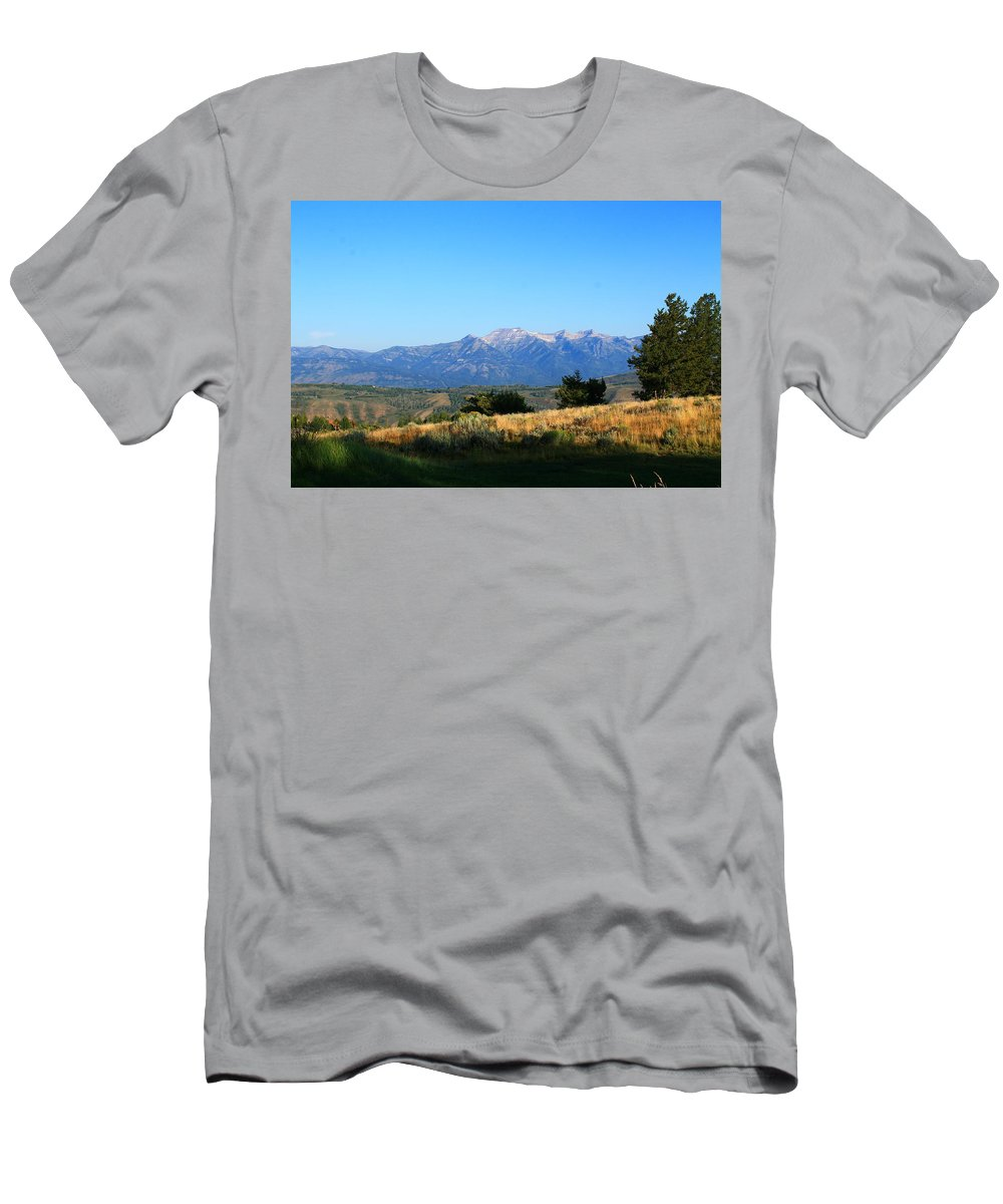 Grand Teton Mountains Men's T-Shirt (Athletic Fit) featuring the photograph Hello Tetons by Catie Canetti