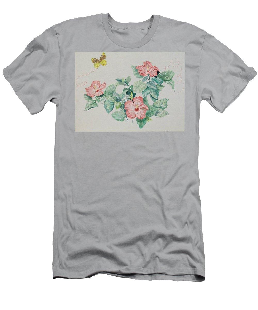 Yellow Butterflies T-Shirt featuring the painting Hibicus and Butterflies by Wanda Dansereau