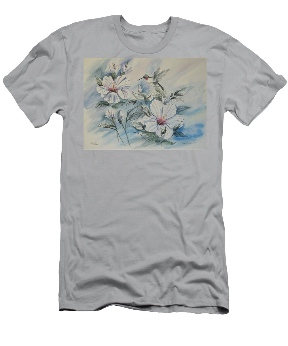 White Hibiscus T-Shirt featuring the painting Hibiscus in Spring by Wanda Dansereau