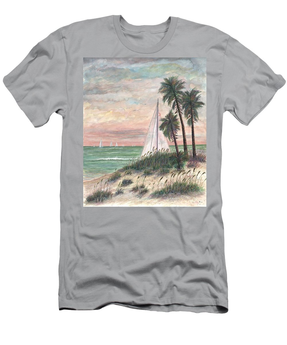 Sailboats; Palm Trees; Ocean; Beach; Sunset Men's T-Shirt (Athletic Fit) featuring the painting Hideaway by Ben Kiger