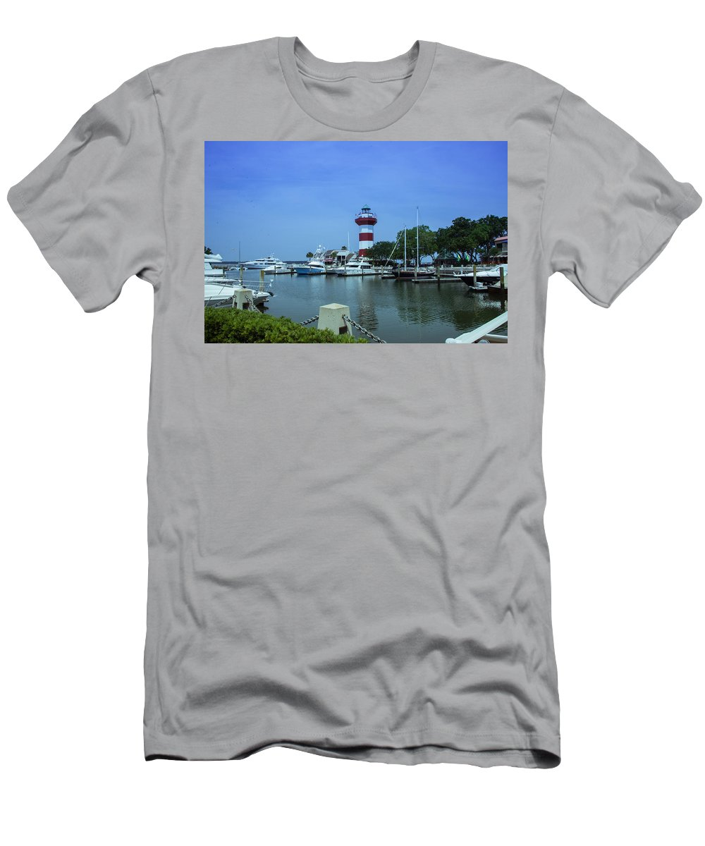 Hilton Head Men's T-Shirt (Athletic Fit) featuring the photograph Hilton Head Lighthouse And Marina by JG Thompson