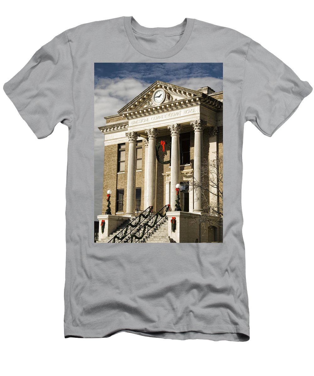 Historical Men's T-Shirt (Athletic Fit) featuring the photograph Historical Athens Alabama Courthouse Christmas by Kathy Clark