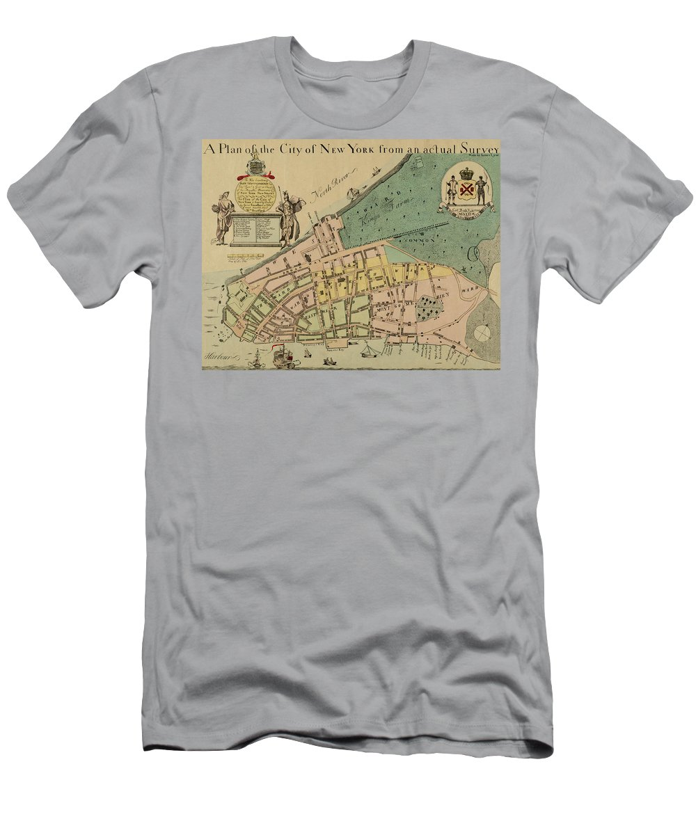 Manhattan Men's T-Shirt (Athletic Fit) featuring the photograph Historical Manhattan Map 1728 by Andrew Fare