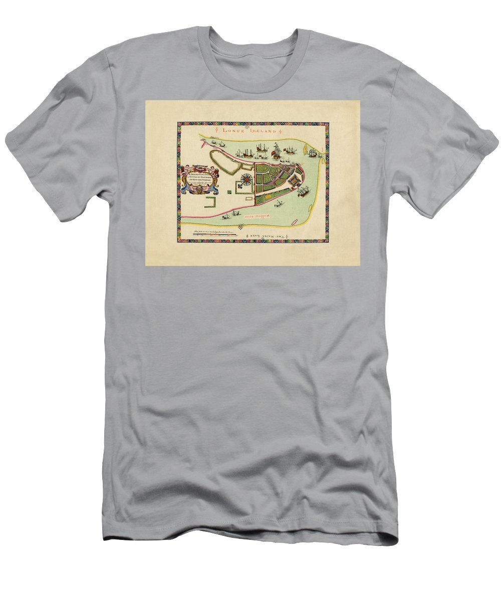 Manhattan Men's T-Shirt (Athletic Fit) featuring the photograph Historical Map Of Manhattan 1661 by Andrew Fare