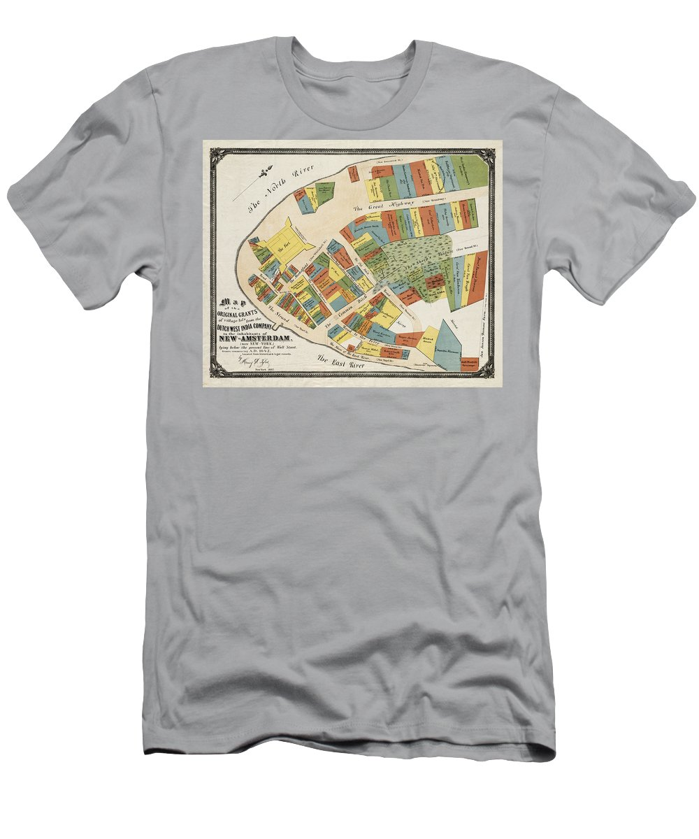 Manhattan Men's T-Shirt (Athletic Fit) featuring the photograph Historical Map Of Manhattan by Andrew Fare