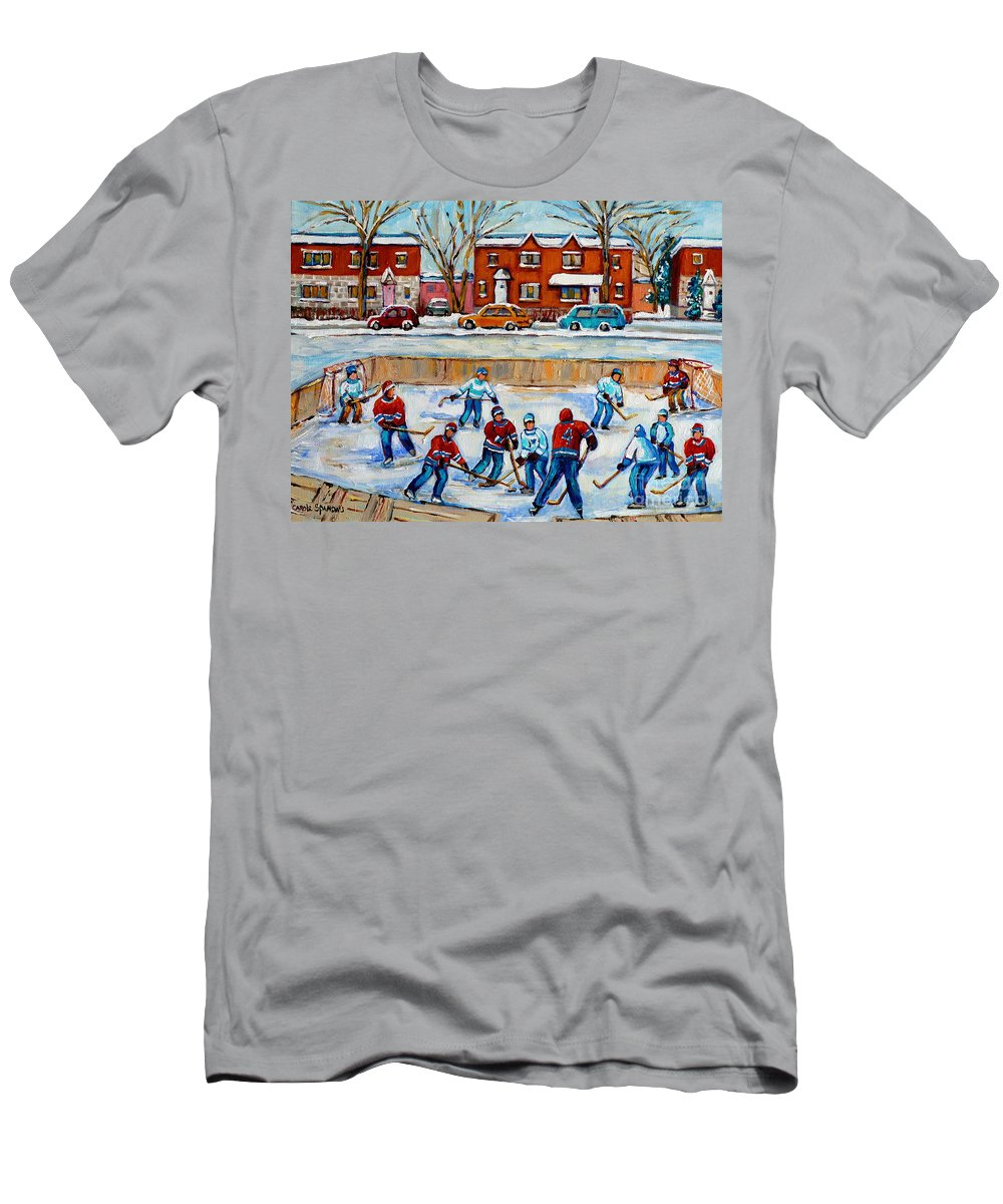 Hockey At Van Horne Montreal T-Shirt featuring the painting Hockey Rink At Van Horne Montreal by Carole Spandau