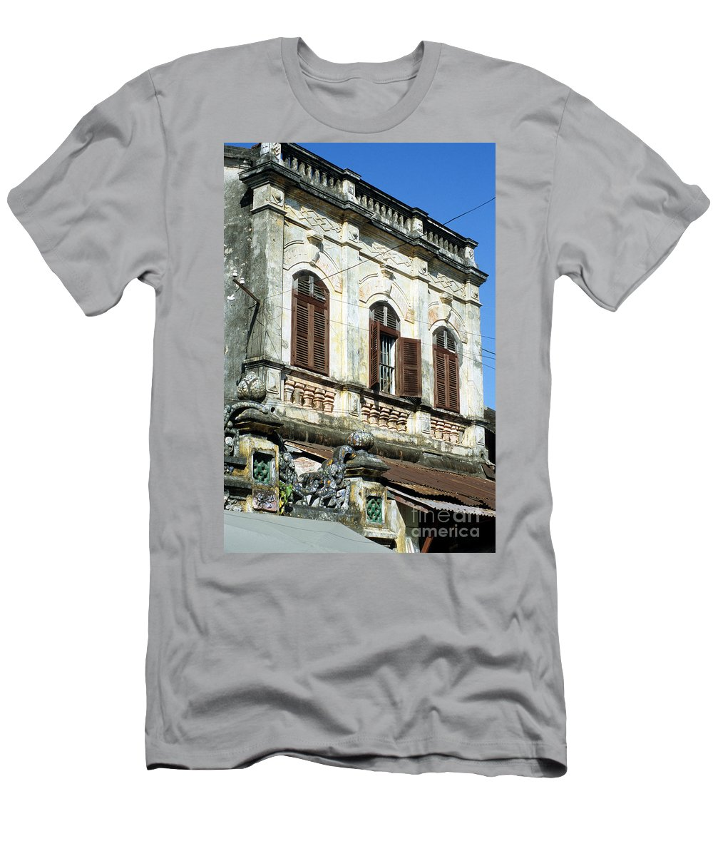 Vietnam Men's T-Shirt (Athletic Fit) featuring the photograph Hoi An Old Colonial by Rick Piper Photography