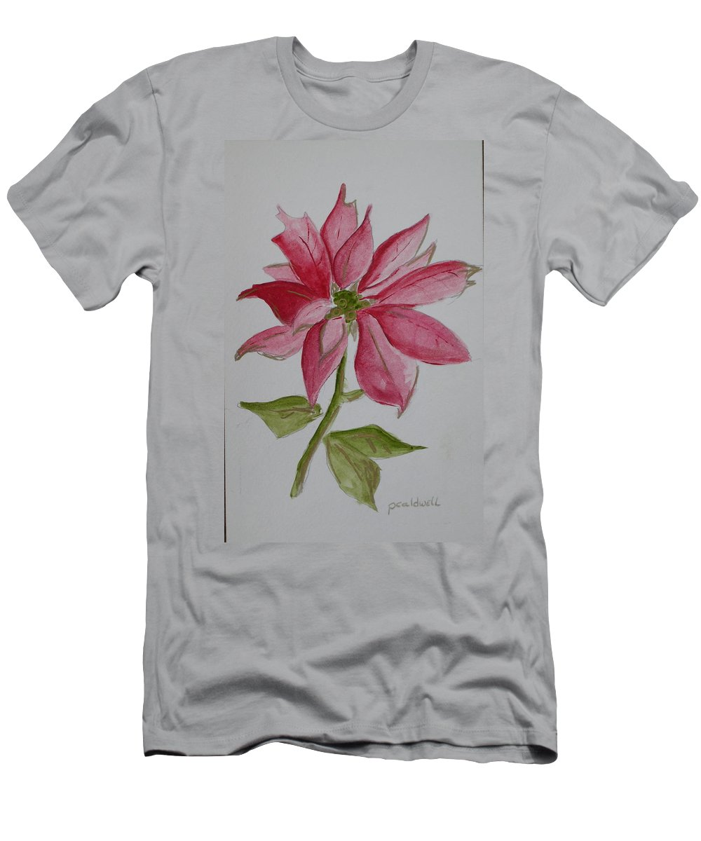 Flower Christmas Men's T-Shirt (Athletic Fit) featuring the painting Holiday Flower by Patricia Caldwell