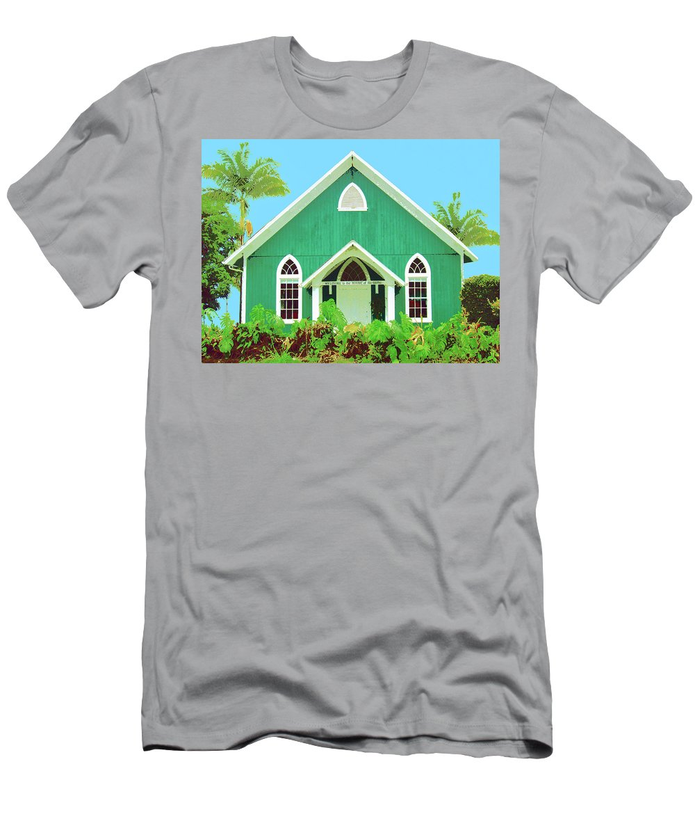 Hawaii Church Men's T-Shirt (Athletic Fit) featuring the mixed media Holuoloa Church by Dominic Piperata