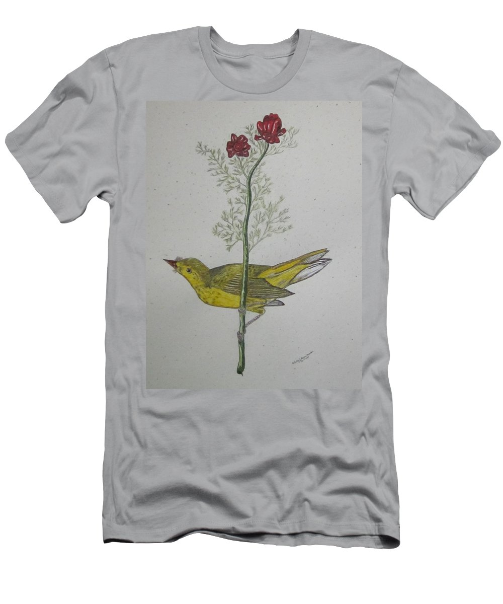 Hooded Warbler Men's T-Shirt (Athletic Fit) featuring the painting Hooded Warbler by Kathy Marrs Chandler