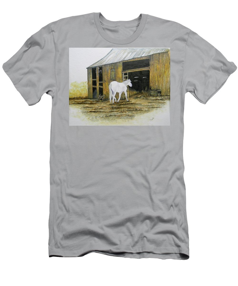 Horse Men's T-Shirt (Athletic Fit) featuring the painting Horse And Barn by Bertie Edwards