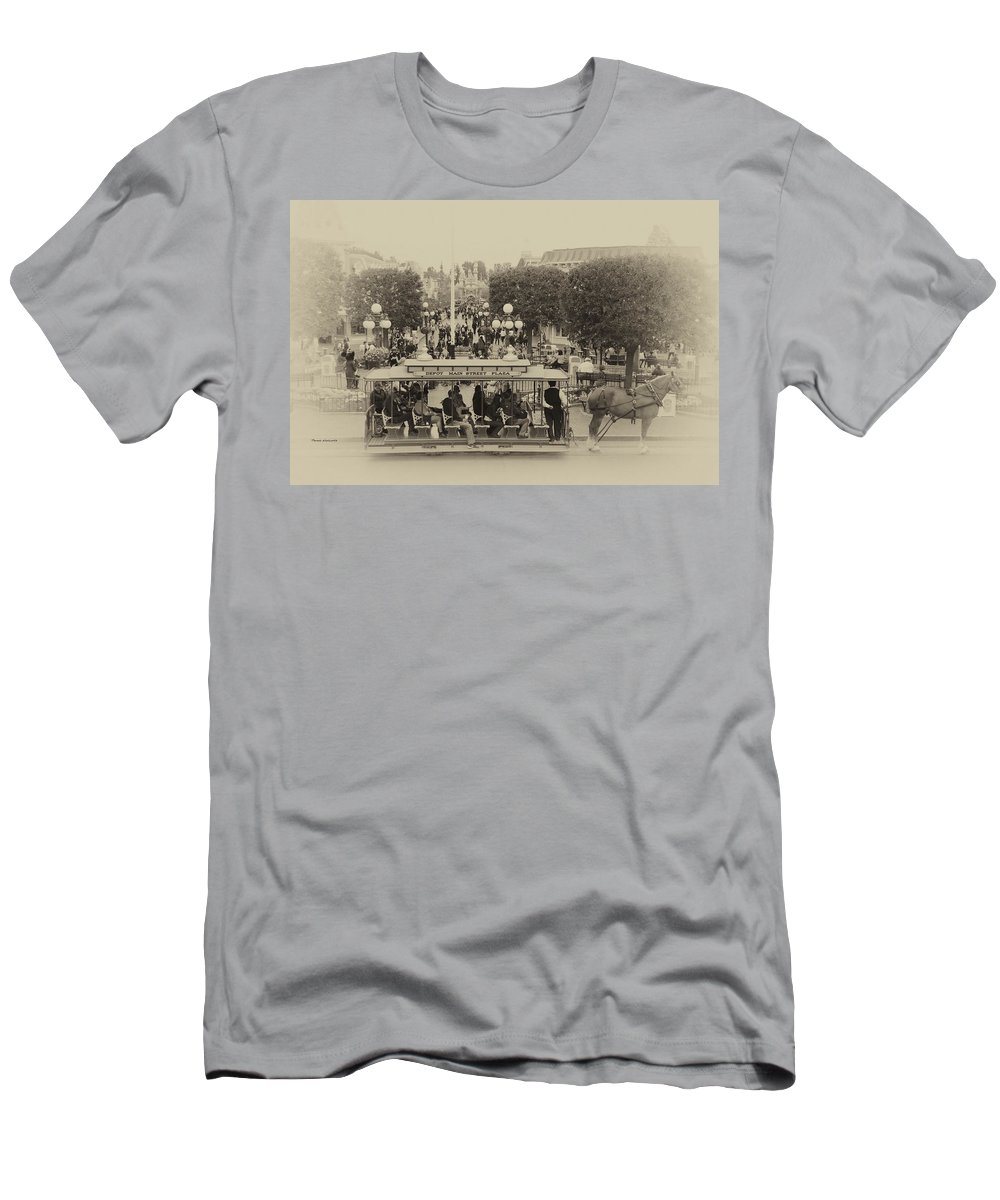 Disney Men's T-Shirt (Athletic Fit) featuring the photograph Horse And Trolley Main Street Disneyland Heirloom by Thomas Woolworth