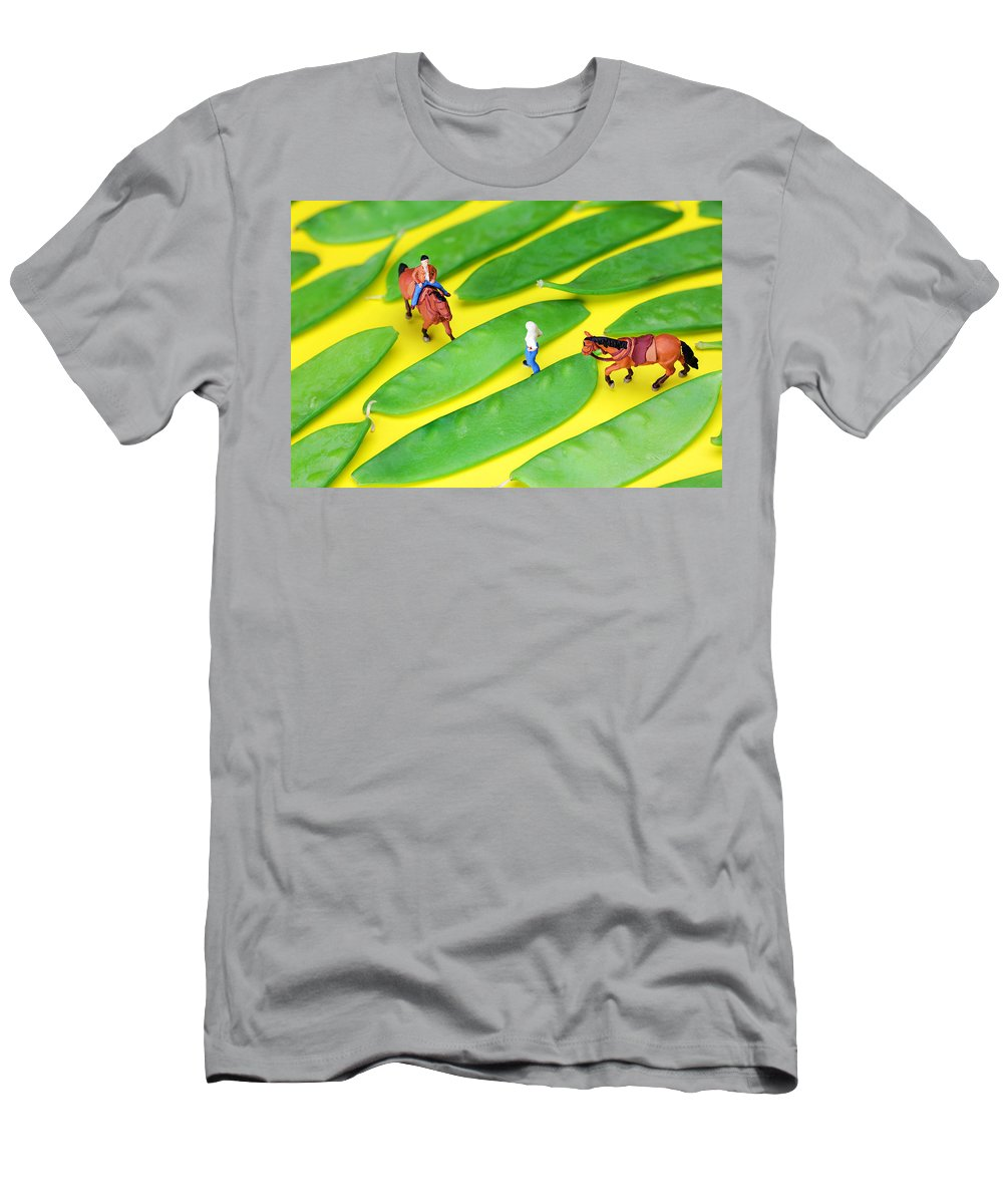 Horse Men's T-Shirt (Athletic Fit) featuring the photograph Horse Riding On Snow Peas Little People On Food by Paul Ge