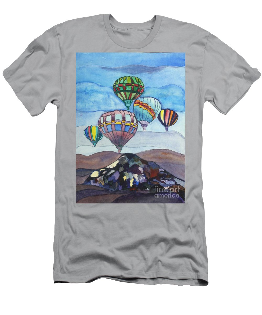 Blue Men's T-Shirt (Athletic Fit) featuring the painting Hot Air Baloons by Donna Walsh