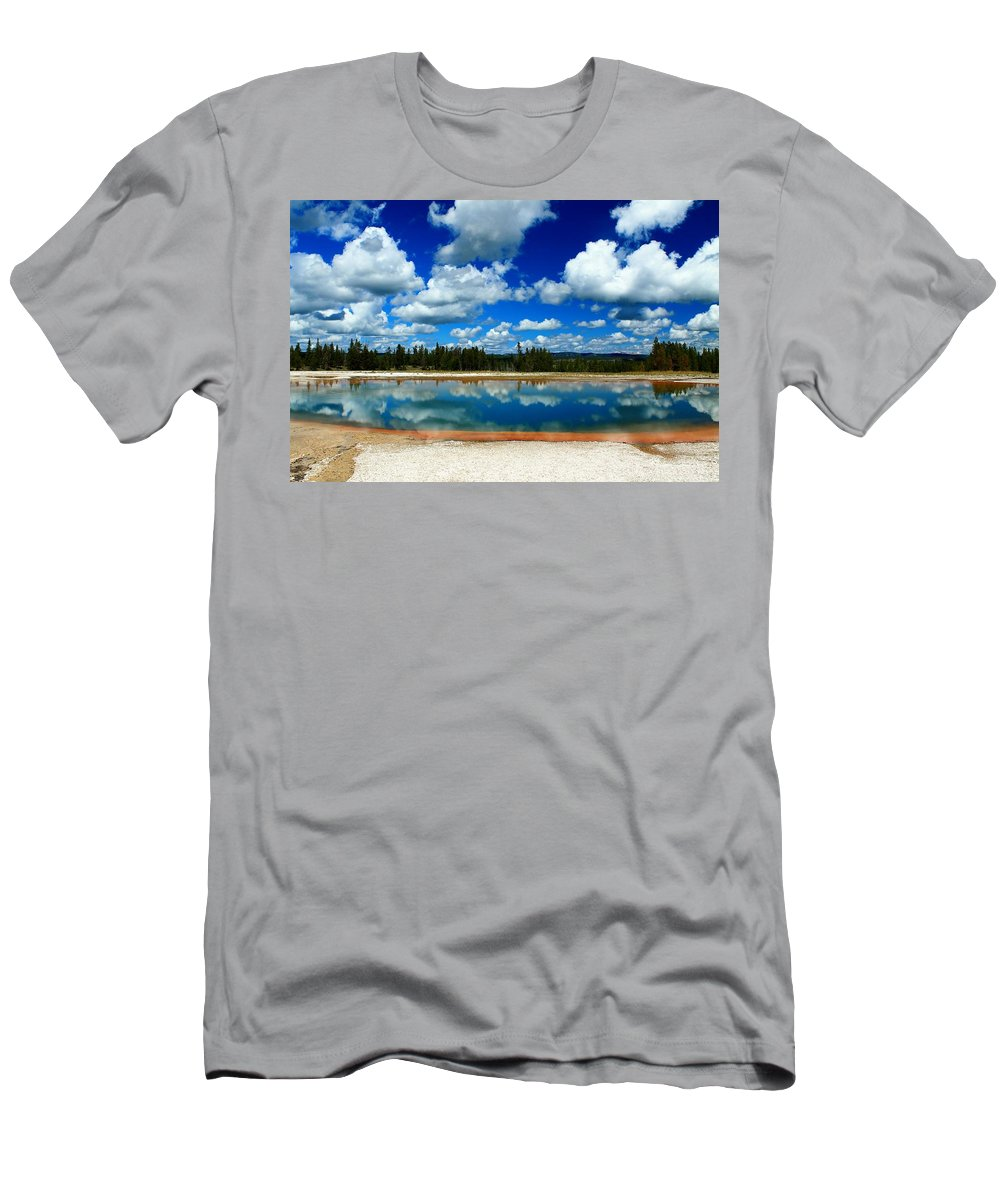 Yellowstone National Park Men's T-Shirt (Athletic Fit) featuring the photograph Hot Springs And Clouds by Catie Canetti