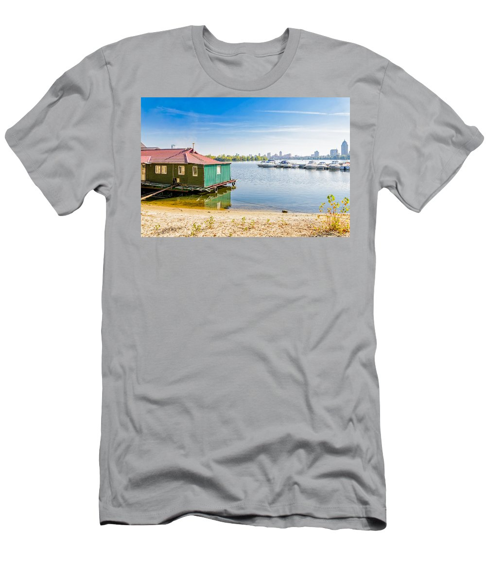 Dnieper Men's T-Shirt (Athletic Fit) featuring the photograph House And Boats On The River by Alain De Maximy