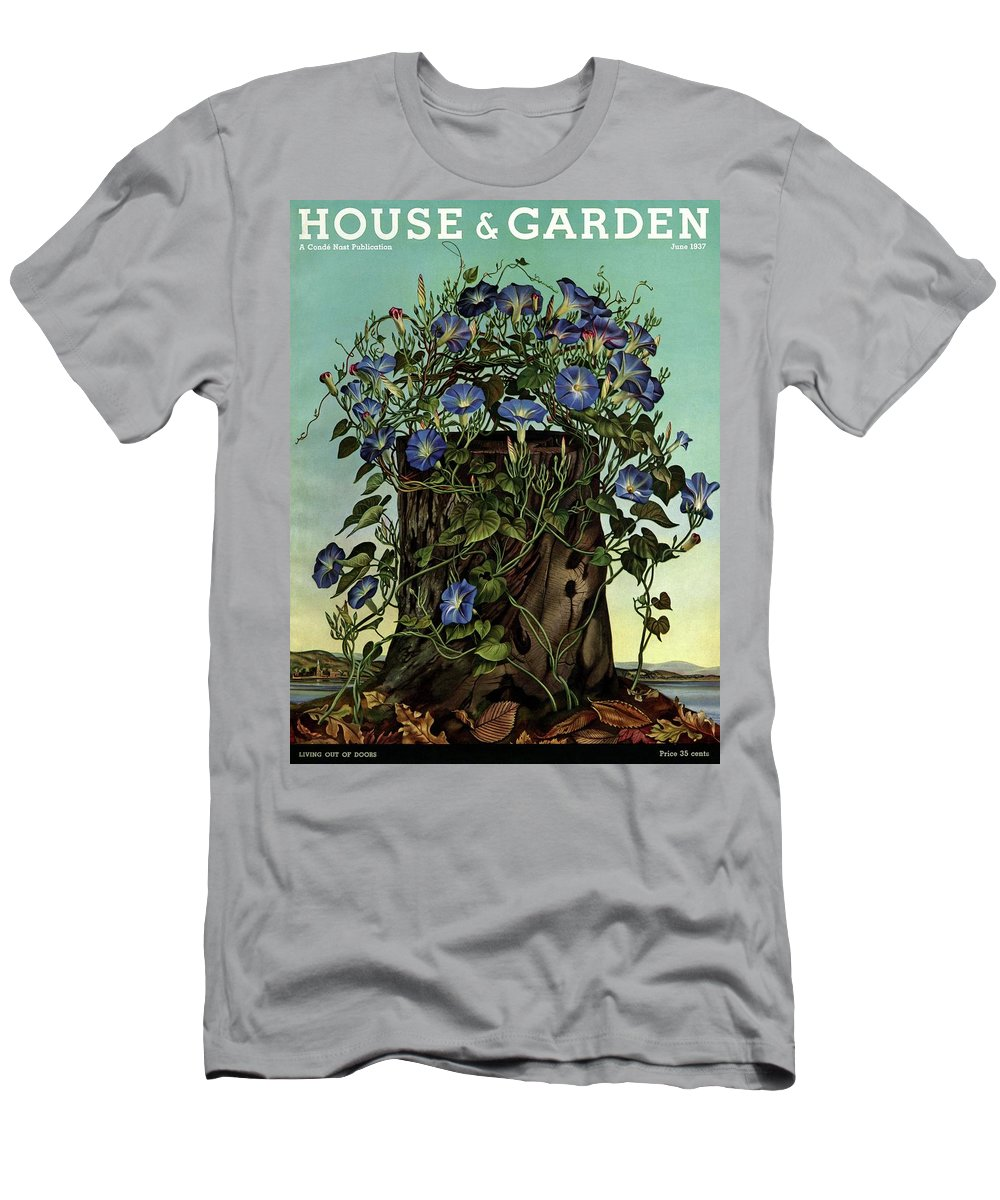 House And Garden Men's T-Shirt (Athletic Fit) featuring the photograph House And Garden Cover Featuring Flowers Growing by Audrey Buller