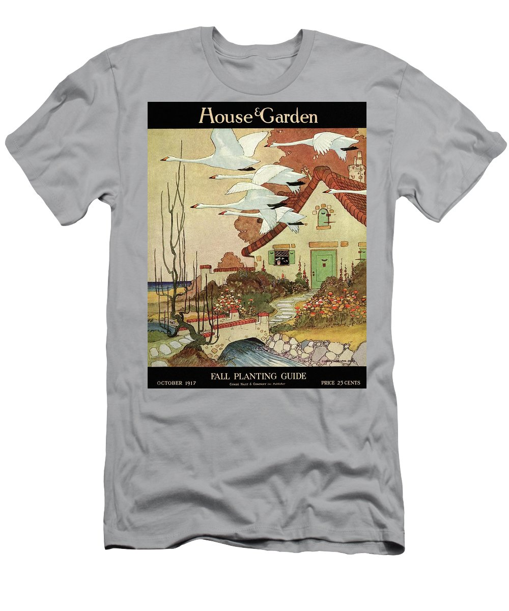 House And Garden Men's T-Shirt (Athletic Fit) featuring the photograph House And Garden Fall Planting Guide by Charles Livingston Bull
