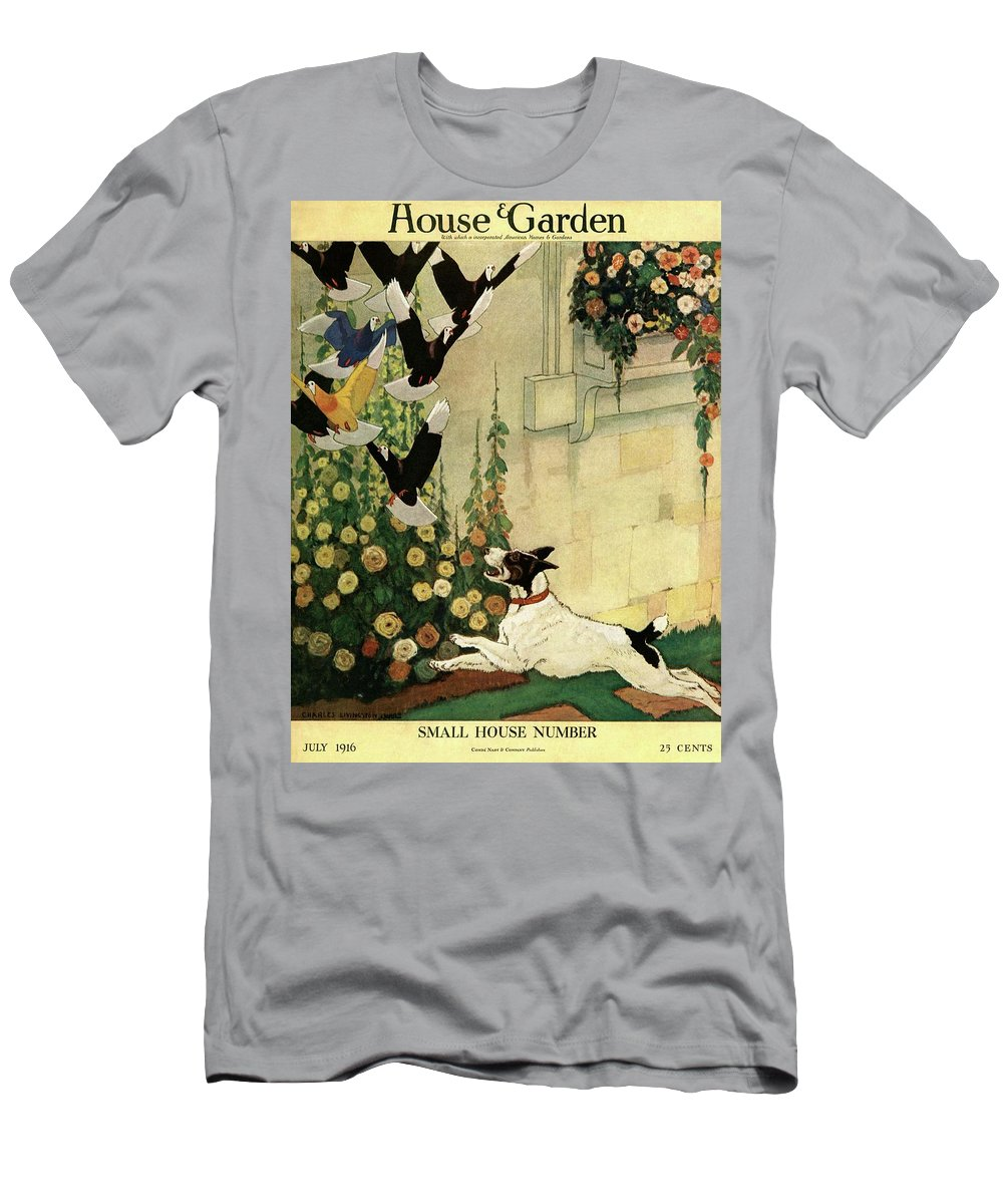 House And Garden T-Shirt featuring the photograph House And Garden Small House Number Cover by Charles Livingston Bull