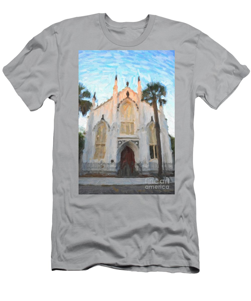 French Huguenot Men's T-Shirt (Athletic Fit) featuring the digital art Huguenot Church by Dale Powell