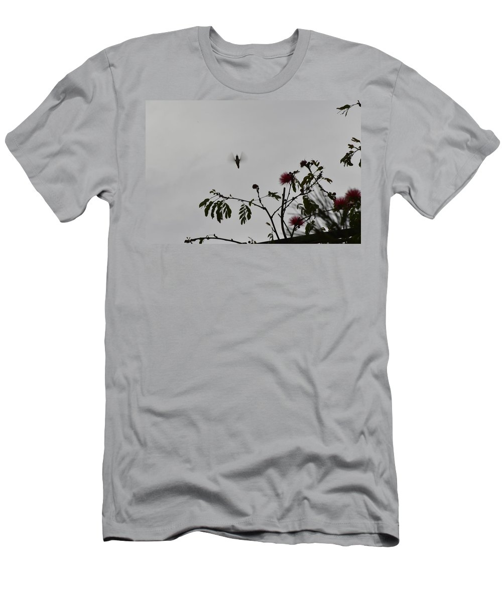 Linda Brody Men's T-Shirt (Athletic Fit) featuring the photograph Hummingbird Silhouette I by Linda Brody