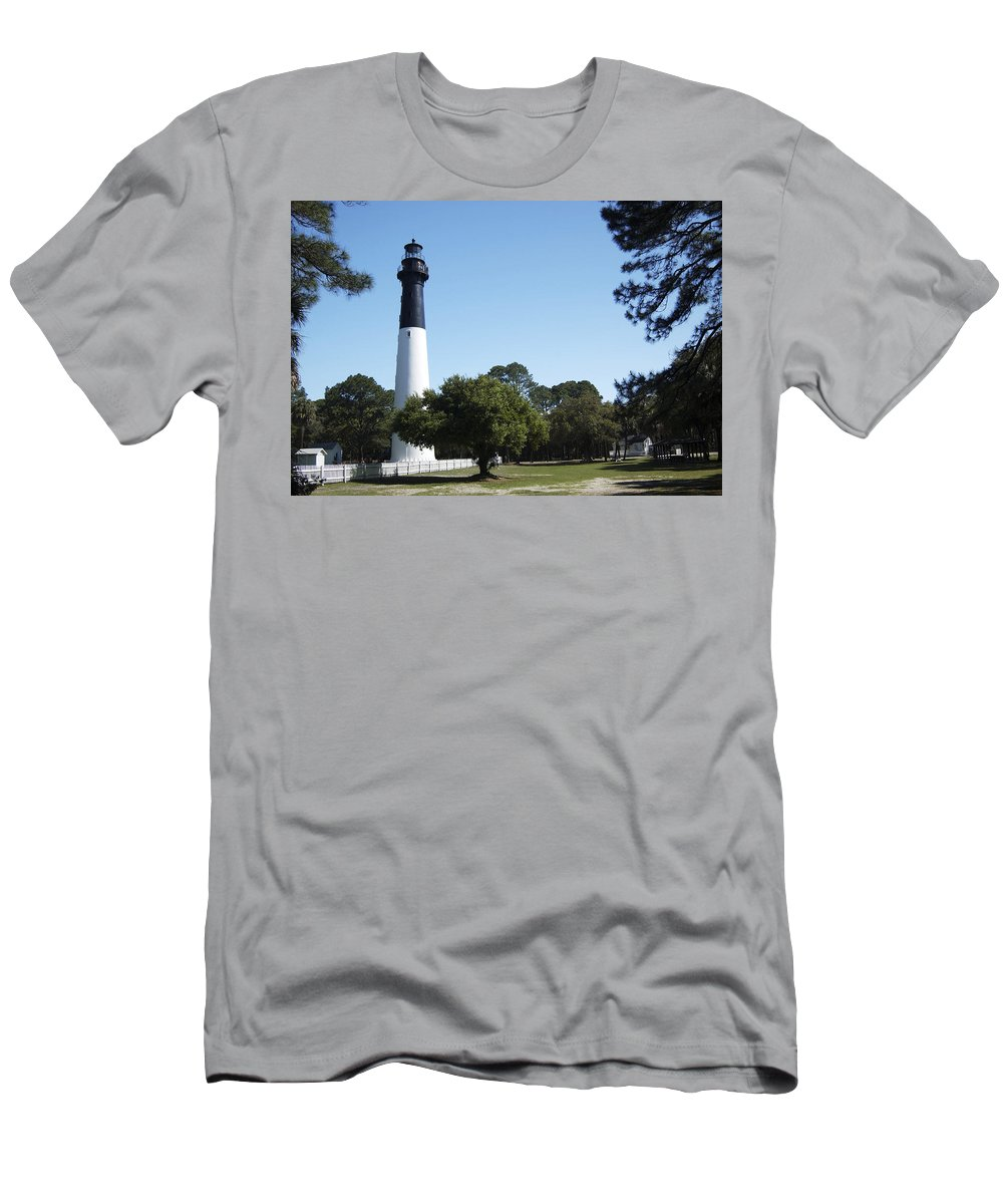 Hunting Island Lighthouse Men's T-Shirt (Athletic Fit) featuring the photograph Hunting Island Lighthouse Sc by Bob Pardue