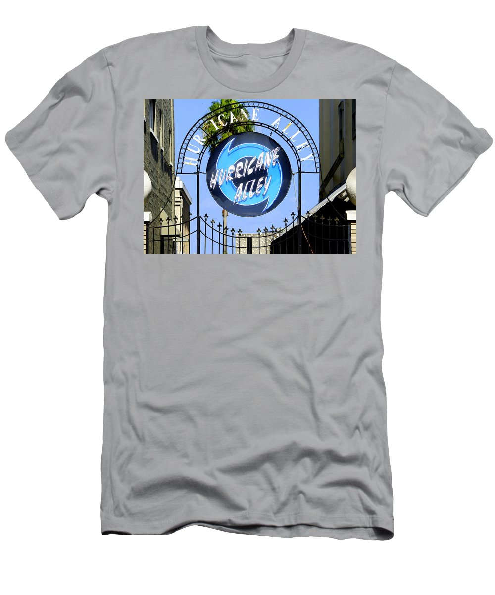 Hurricane Alley Sign Men's T-Shirt (Athletic Fit) featuring the photograph Hurricane Alley by Laurie Perry