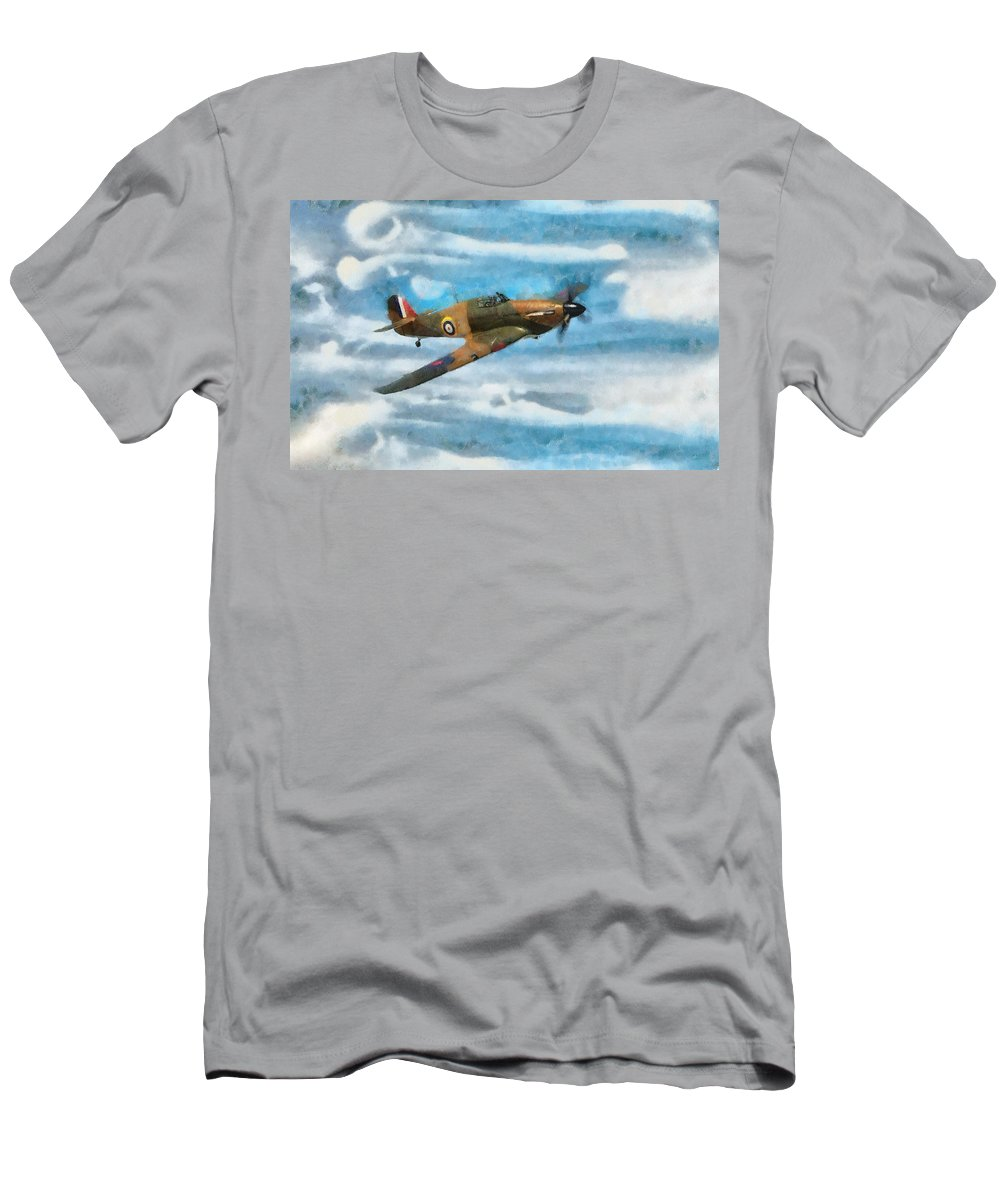 British Men's T-Shirt (Athletic Fit) featuring the mixed media Hurricane Fighter Watercolour by Roy Pedersen
