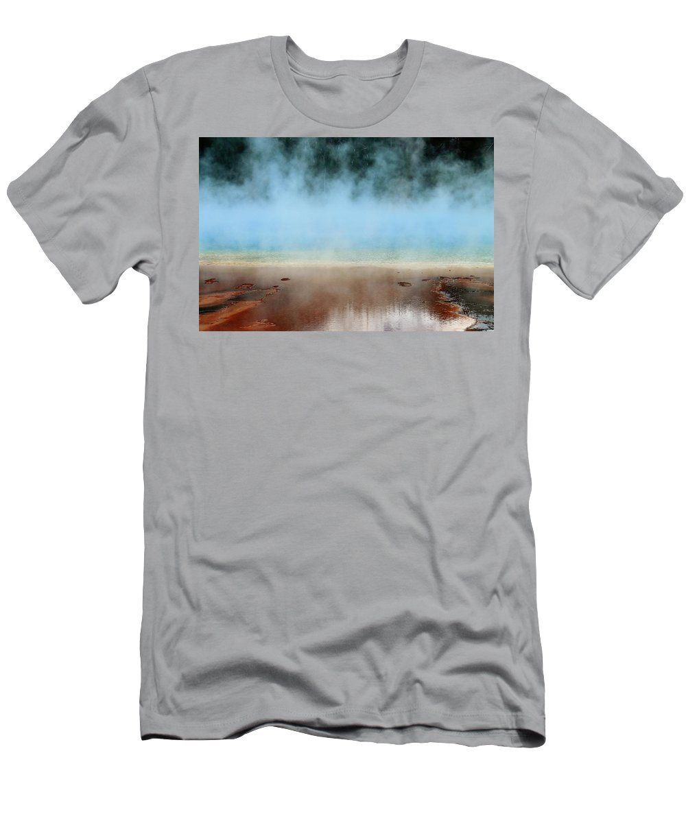 Yellowstone National Park Men's T-Shirt (Athletic Fit) featuring the photograph Ice Blue And Steamy by Catie Canetti