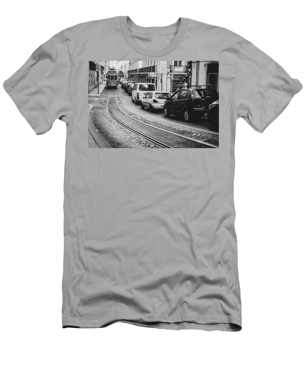 Tram Men's T-Shirt (Athletic Fit) featuring the photograph Iconic Lisbon Streetcar No. 28 V by Marco Oliveira