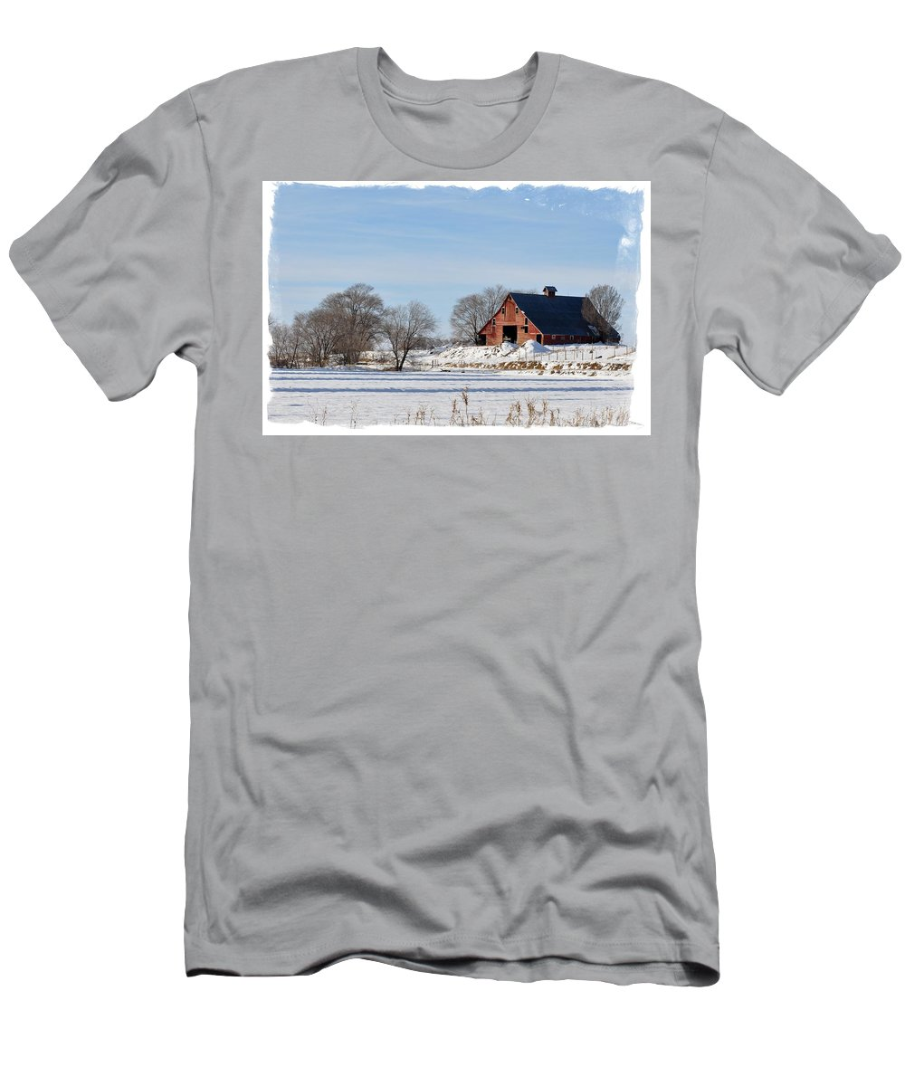 Idaho Falls Men's T-Shirt (Athletic Fit) featuring the photograph Idaho Falls Winter by Image Takers Photography LLC - Laura Morgan