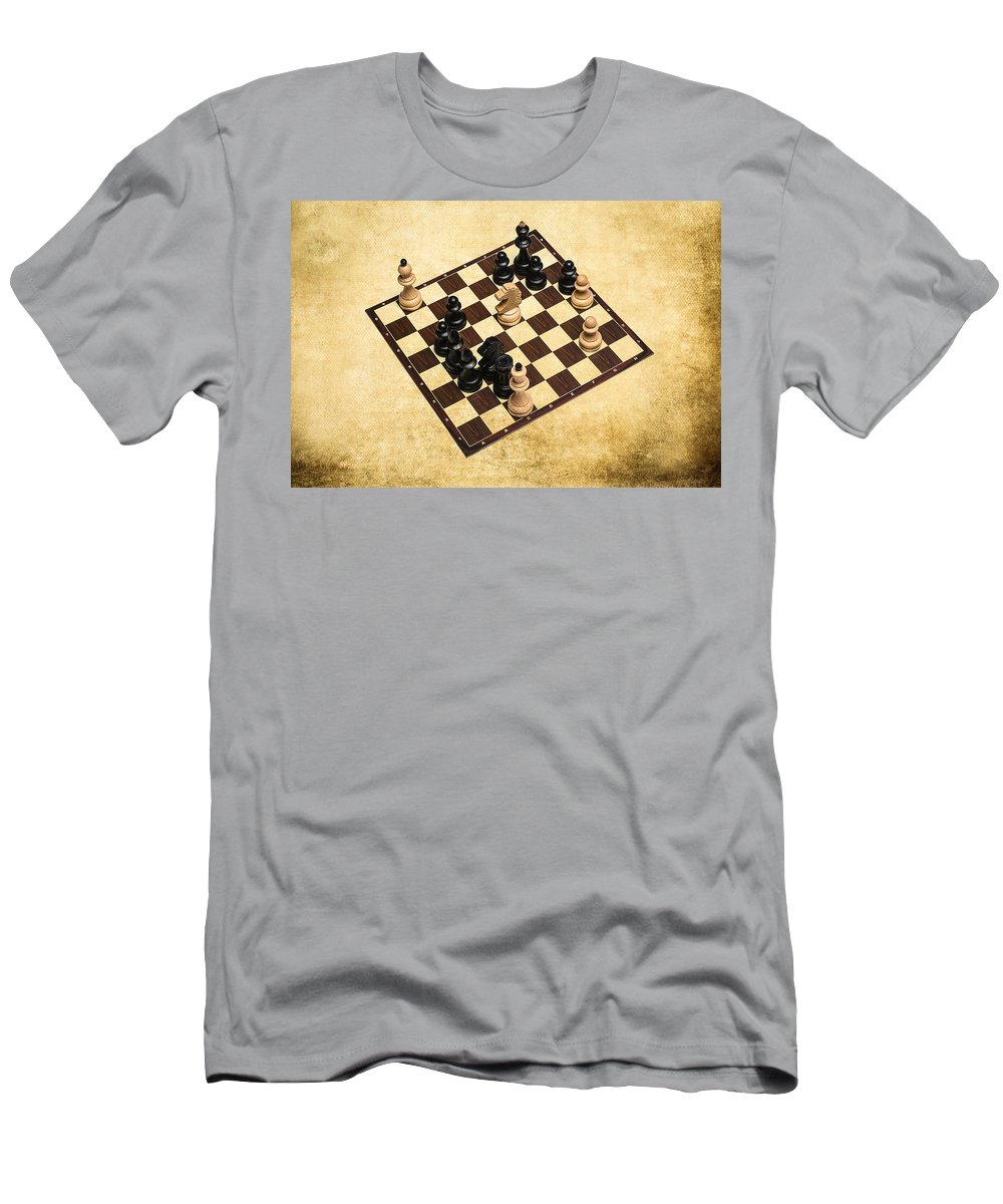 Chess Men's T-Shirt (Athletic Fit) featuring the photograph Immortal Chess - Byrne Vs Fischer 1956 by Alexander Senin