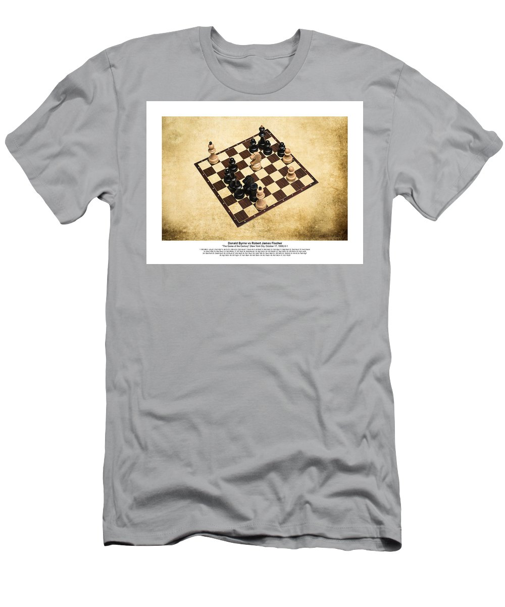 Chess Men's T-Shirt (Athletic Fit) featuring the photograph Immortal Chess - Byrne Vs Fischer 1956 - Moves by Alexander Senin